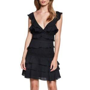 Bardot Black Ruffled Lace Mini Dress
